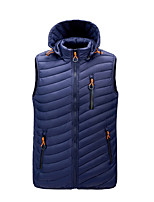 cheap -Men's Vest Daily Fall Winter Regular Coat Zipper Stand Collar Regular Fit Windproof Warm Casual Jacket Sleeveless Solid Color Pocket Blue Wine Army Green
