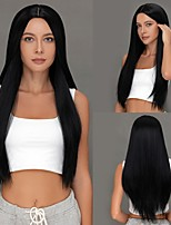cheap -Long Synthetic Straight Black Wig  kinky Straight Soft Natural Middle Part Wig 28 inch for Women  Durable High Tempereature Free Cap