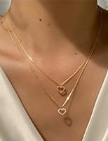cheap -Choker Necklace Women's Layered Synthetic Diamond Clear Imitation Diamond Heart Dainty Elegant Fashion European Sweet Wedding Gold 41+6 cm Necklace Jewelry for Wedding Street Daily Holiday Festival