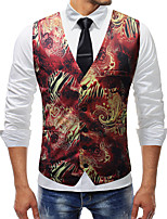 cheap -Men's Vest Gilet Business Fall Spring Regular Coat Single Breasted V Neck Regular Fit Windproof Warm Lightweight Business Casual Jacket Sleeveless Print Print Red