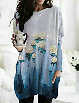 cheap -Women's Floral Theme Painting T shirt Floral Graphic Long Sleeve Pocket Print Round Neck Basic Tops Blue / 3D Print