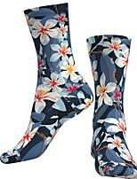 cheap -Socks Cycling Socks Men's Women's Bike / Cycling Breathable Soft Comfortable 1 Pair Floral Botanical Cotton Dark Navy S M L / Stretchy