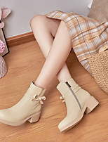 cheap -Women's Boots Cuban Heel Round Toe Booties Ankle Boots Daily PU Bowknot Solid Colored Almond Black / Booties / Ankle Boots