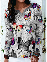 cheap -Women's Butterfly Painting T shirt Butterfly Animal Long Sleeve Print V Neck Basic Tops Regular Fit Blue Purple Blushing Pink