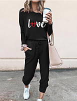 cheap -Women Basic Streetwear Heart Letter Casual Vacation Two Piece Set Hoodies & Sweatshirts Tracksuit T shirt Pant Loungewear Jogger Pants Drawstring Print Tops