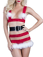cheap -Women's Sexy Bodies Bodysuits Christmas Transparent Hole Pure Color Spandex Plush Soft Fall Winter Straps Sleeveless / 1 pc