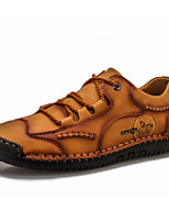 cheap -Men's Unisex Loafers & Slip-Ons Lace up Crochet Leather Shoes Casual Vintage Classic Daily Outdoor Leather Cowhide Handmade Non-slipping Shock Absorbing Light Brown Dark Brown Black Fall Winter