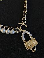 cheap -Pendant Necklace Women's Geometrical Vintage Wedding White 21-50 cm Necklace Jewelry 1pc for Wedding Geometric
