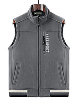 cheap -Men's Vest Gilet Sport Daily Going out Fall Winter Regular Coat Zipper Stand Collar Regular Fit Warm Breathable Sporty Casual Jacket Sleeveless Solid Color Full Zip Pocket Blue Light Grey Black