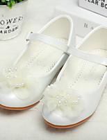 cheap -Girls' Heels Heel PU Wedding Dress Shoes Little Kids(4-7ys) Big Kids(7years +) Wedding Party Party & Evening Rhinestone Bowknot Flower White Fall Winter