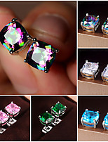 cheap -Men's Women's AAA Cubic Zirconia Earrings Classic Mini Stylish Artistic Trendy Korean Sweet Gold Plated 18K Gold Earrings Jewelry Multicolor Square / Blue / Pink For Wedding Gift Daily Work Festival