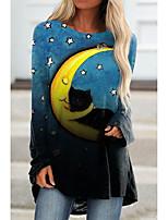 cheap -Women's Halloween Cat Painting T shirt Galaxy Cat Long Sleeve Print Round Neck Basic Halloween Tops Regular Fit Blue / 3D Print