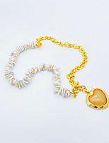 cheap -Pendant Necklace Women's Geometrical Gold White Heart Vintage Luminous Wedding Gold White 47 cm Necklace Jewelry 1pc for Wedding Heart Shape