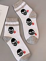 cheap -Fashion Comfort Women's All Socks Striped Socks Casual Socks Medium Halloween White 1 Pair