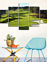 cheap -5 Panels Wall Art Canvas Prints Painting Artwork Picture Landscape Golf course Home Decoration Decor Rolled Canvas No Frame Unframed Unstretched