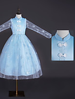 cheap -Princess Dress Kid's Girls' Dresses Halloween Carnival Festival / Holiday Terylene Blue Easy Carnival Costumes Solid Color