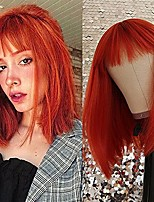 cheap -Short Bob Wig with Bangs for Women Synthetic Bob Wigs Orange Red Wig Heat Resistant Fiber Synthetic Straight Hairfor Party Daily Use Shoulder Length