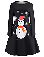 cheap -Santa Suit Audrey Hepburn Dress Swing Dress Adults' Women's Vintage Festival Christmas New Year Festival / Holiday Terylene White / Black Women's Easy Carnival Costumes Snowflake