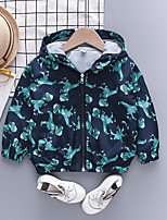cheap -Kids Toddler Boys' Jacket Coat Long Sleeve Animal Zipper Pocket Navy Blue Children Tops Fall Spring Exaggerated Cool Daily Standard Fit 1-5 Years