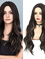 cheap -Ombre Color Wigs for Women Long Curly Wavy with Dark Roots Middle Part Cosplay Halloween Synthetic Hair Full Wig for Women (Black Blonde)