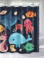 cheap -Cartoon Marine Animal Series Digital Printing Shower Curtain Shower Curtains Hooks Modern Polyester New Design