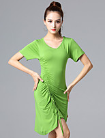 cheap -Latin Dance Ballroom Dance Dress Cinch Cord Solid Women's Training Performance Short Sleeve High Modal
