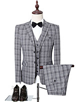 cheap -Men's Wedding Suits 3 pcs Shawl Collar Tailored Fit Single Breasted Two-buttons Patch Pocket Checkered Polyester