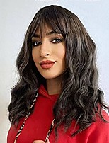 cheap -Short Wavy Black Wig with Bangs 14 Inch Wavy Bob Wig Natural Curly Hair Wigs for Women Shoulder Length Middle Part Heat Resistant Synthetic Wig