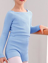 cheap -Gymnastics Suits Girls' Kids Shorts Crop Top Dancewear Spandex Cotton High Elasticity Breathable Solid Color Long Sleeve Training Competition Ballet Dance Gymnastics Blue Purple Blushing Pink