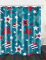 cheap -Five-Pointed Star Printed Waterproof Fabric Shower Curtain Bathroom Home Decoration Covered Bathtub Curtain Lining Including hooks.