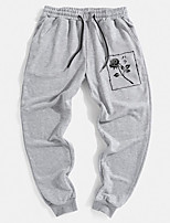 cheap -Men's Stylish Sporty Outdoor Sports Jogger Pants Sweatpants Daily Sports Pants Rose Full Length Classic Print Gray Black / Drawstring