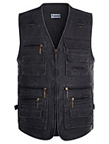 cheap -Men's Vest Gilet Daily Going out Spring Short Coat Zipper V Neck Loose Breathable Casual Jacket Sleeveless Plain Pocket Blue Yellow Gray