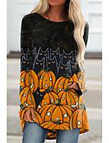 cheap -Women's Halloween Cat Painting T shirt Cat Pumpkin Long Sleeve Print Round Neck Basic Halloween Tops Regular Fit Black / 3D Print