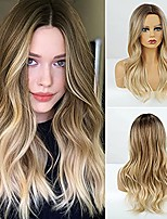 cheap -Ombre Blonde Long Wavy Wig Brown To Light Blonde Synthetic Wig for Women with Dark Roots Ombre Blonde Wavy Curly Wig Heat Resistant Pastel Hair Wig