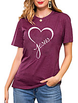 cheap -Women's T shirt Graphic Heart Letter Print Round Neck Basic Vintage Tops Regular Fit Blue Blushing Pink Wine