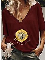 cheap -floral v-neckline half sleeve casual t-shirts