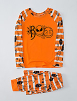 cheap -Women's Pajamas Sets Home Halloween Daily Bed Print Pumpkin Polyster Simple Soft Sweet T shirt Pant Fall Winter Crew Neck Long Sleeve Long Pant Seamed