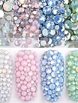 cheap -1 Pack Multi Size SS4-SS20 Opal Nail Rhinestones Flat Bottom Colorful Crystal Glass Gems For DIY UV Gel 3D Nail Art Decorations