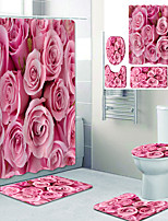 cheap -Beautiful Pink Rose Printed Bathroom Home Decoration Bathroom shower Curtain Lining Waterproof Shower Curtain With 12 hooks floor Mats and four-Piece Toilet Mats.
