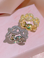 cheap -Women Statement Ring AAA Cubic Zirconia Geometrical Silver Gold Brass Weave Luxury Unique Design Fashion 1pc / Women's