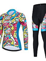 cheap -21Grams Women's Long Sleeve Cycling Jersey with Tights Spandex Blue Bike Quick Dry Moisture Wicking Sports Graphic Mountain Bike MTB Road Bike Cycling Clothing Apparel / Stretchy / Athletic