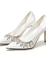 cheap -Women's Heels Wedding Shoes High Heel Pointed Toe Wedding Daily Satin Rhinestone Solid Colored Almond White