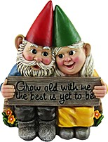 cheap -Lovely Garden Gnome Statue Resin Hand-Painted Crafts Growing Old together Collectible Figurine Dwarf Resin Craft Pastoral Landscape Ornaments for Garden Yard Lawn Outdoor Decor