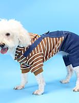 cheap -pet clothes striped denim striped puppy four-legged suit simple trendy teddy pomeranian clothes