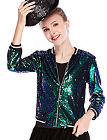 cheap -Hip-Hop Jazz Dance Costumes Coat Solid Splicing Sequins Unisex Training Performance Long Sleeve Nylon Sequined Lycra