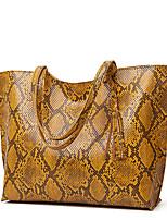 cheap -Women's Bags PU Leather Tote Top Handle Bag Tassel Snake Print Daily Date Handbags Blue Yellow Blushing Pink White