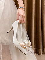 cheap -Women's Wedding Shoes High Heel Pointed Toe Wedding Office Satin Rhinestone Pearl Solid Colored White