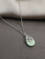 cheap -Choker Necklace Pendant Necklace Women's Pear Cut Turquoise Green Flower Dainty Unique Design Ethnic Fashion European Wedding Silver 40.5+6.5 cm Necklace Jewelry for Wedding Street Daily Holiday