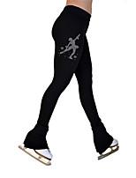cheap -Figure Skating Pants Women's Girls' Ice Skating Tights Leggings Black Fleece Spandex High Elasticity Training Practice Competition Skating Wear Thermal Warm Crystal / Rhinestone Ice Skating Figure