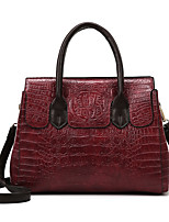 cheap -Women's Bags PU Leather Tote Top Handle Bag Zipper Solid Color Crocodile Vintage Daily Outdoor Retro Leather Bag Handbags Black Red Brown